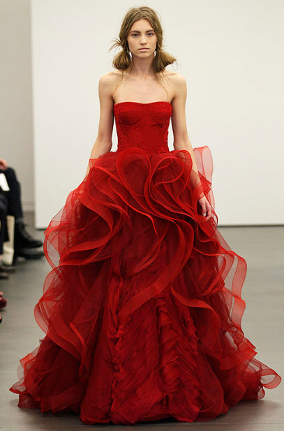 Red wedding dresses by vera wang 9 at in seven colors for All red wedding dresses
