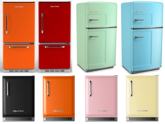 Colorful Retro Style Refrigerators In Seven Colors