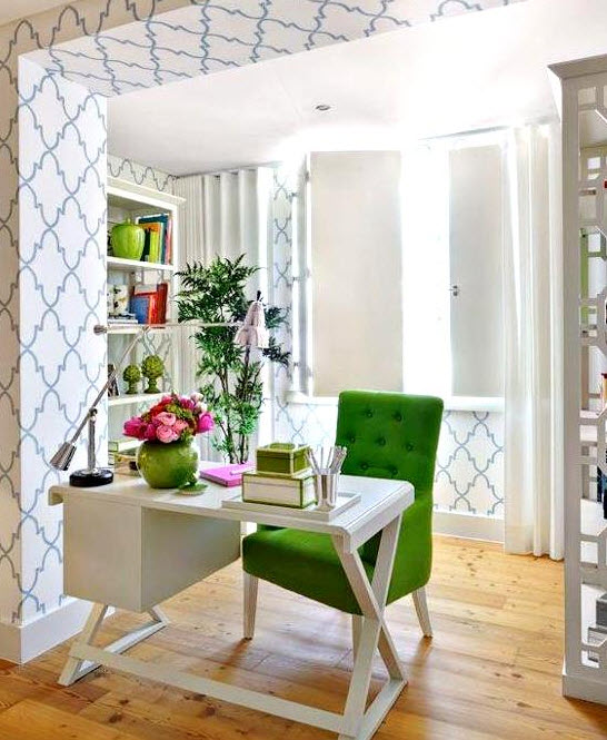 Colorful home office decor ideas 1 at in seven colors for Colorful office decorating ideas