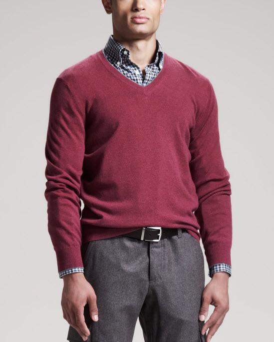 Brunello Cucinelli Raspberry Two-Ply Cashmere Sweater