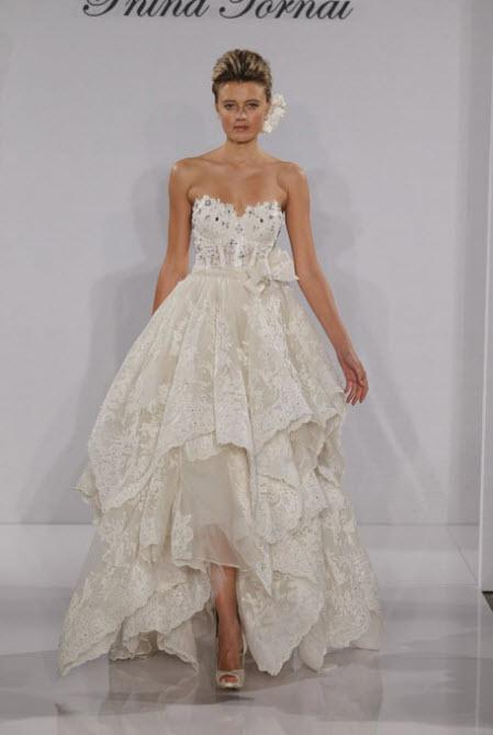 Tea Length Wedding Dresses with Lace by pnina tornai