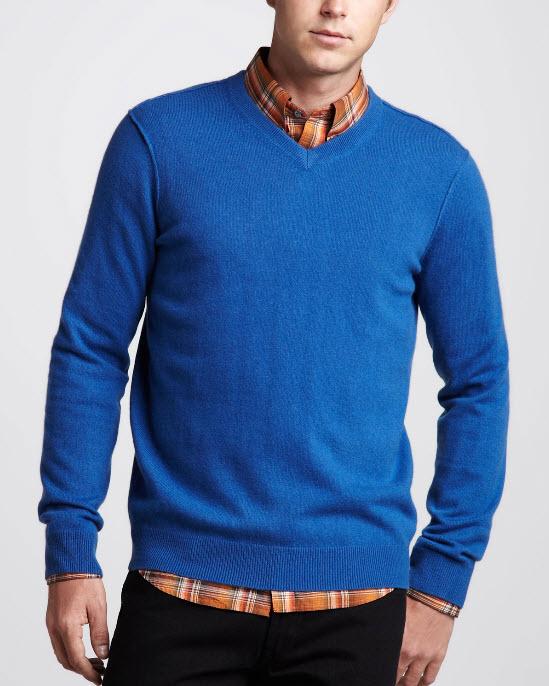 Vince V-Neck Blue Cashmere Sweater