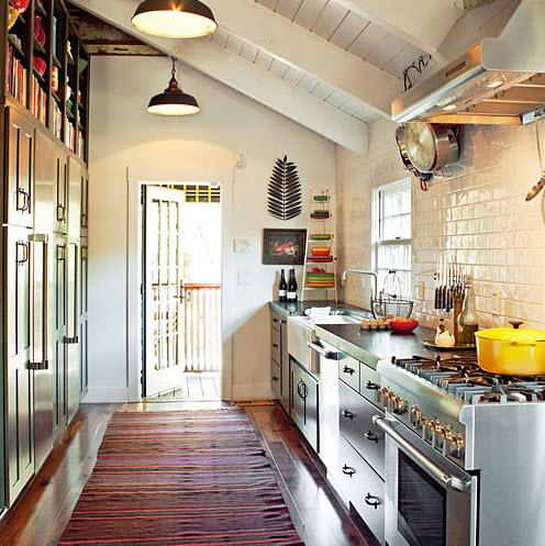 Bright Galley Kitchen Designs