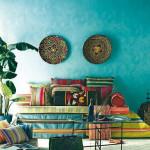 Bold Color Bohemian Blue Living Room_4