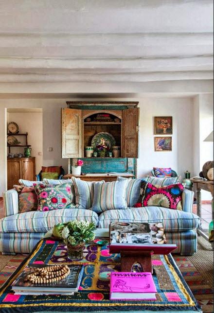 Bold Color Bohemian Living Room_2